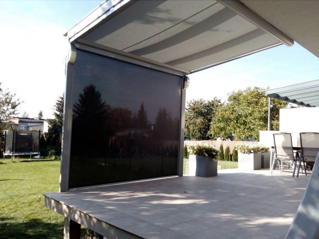 dach szklany z roletą pod szkło i roletą screen